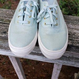 Keds-metallic light blue platform sneaker